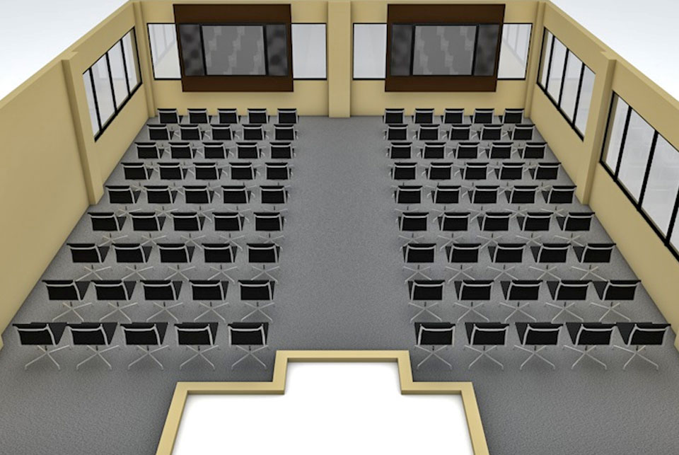 The theater style seating arrangement at the Educator meeting room
